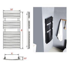 Keskeny törölközőszárító radiátor